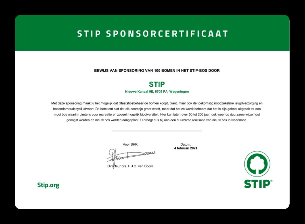 Stip Sponsorcertificaat